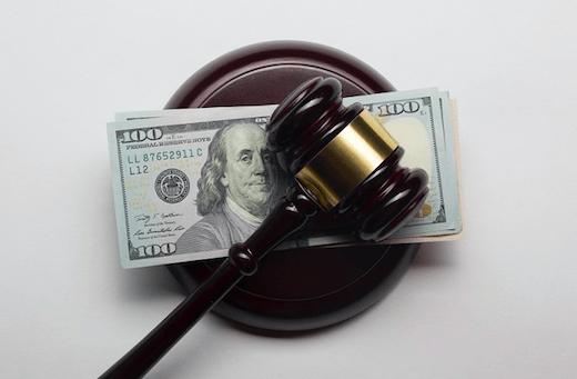 money in the legal system; gavel on money