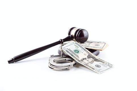 gavel handcuffs money