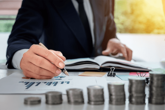 Financial advisor handling money