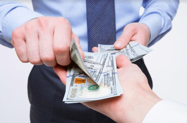handing out cash, money for a side hustle or job