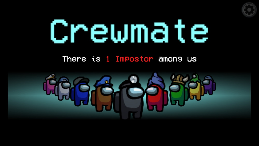"""Screenshot of Among Us game play, characters in space suits form a line and text reads """"Crewmate: There is 1 imposter among us"""""""