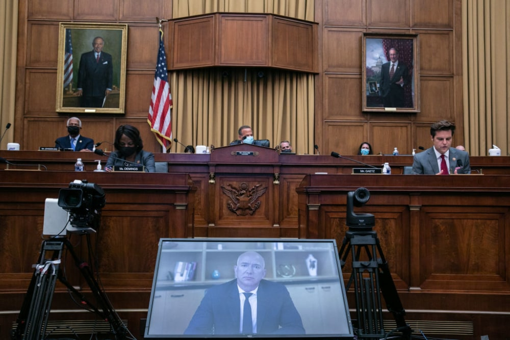 WASHINGTON, DC - JULY 29: Amazon CEO Jeff Bezos testifies via video conference during the House Judiciary Subcommittee on Antitrust, Commercial and Administrative Law hearing on Online Platforms and Market Power in the Rayburn House office Building, July 29, 2020 on Capitol Hill in Washington, DC. The committee was scheduled to hear testimony from the CEOs of Apple, Facebook, Amazon and Google. (Photo by Graeme Jennings-Pool/Getty Images)