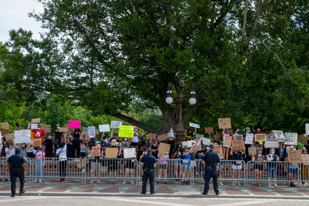 WASHINGTON, DC - JUNE 03: Demonstrators rally at Capitol Hill in protest against police brutality and the death of George Floyd, on June 3, 2020 in Washington, DC. Protests continue to be held in cities throughout the country over the death of Floyd, a black man who was killed in police custody in Minneapolis on May 25. (Photo by Tasos Katopodis/Getty Images)