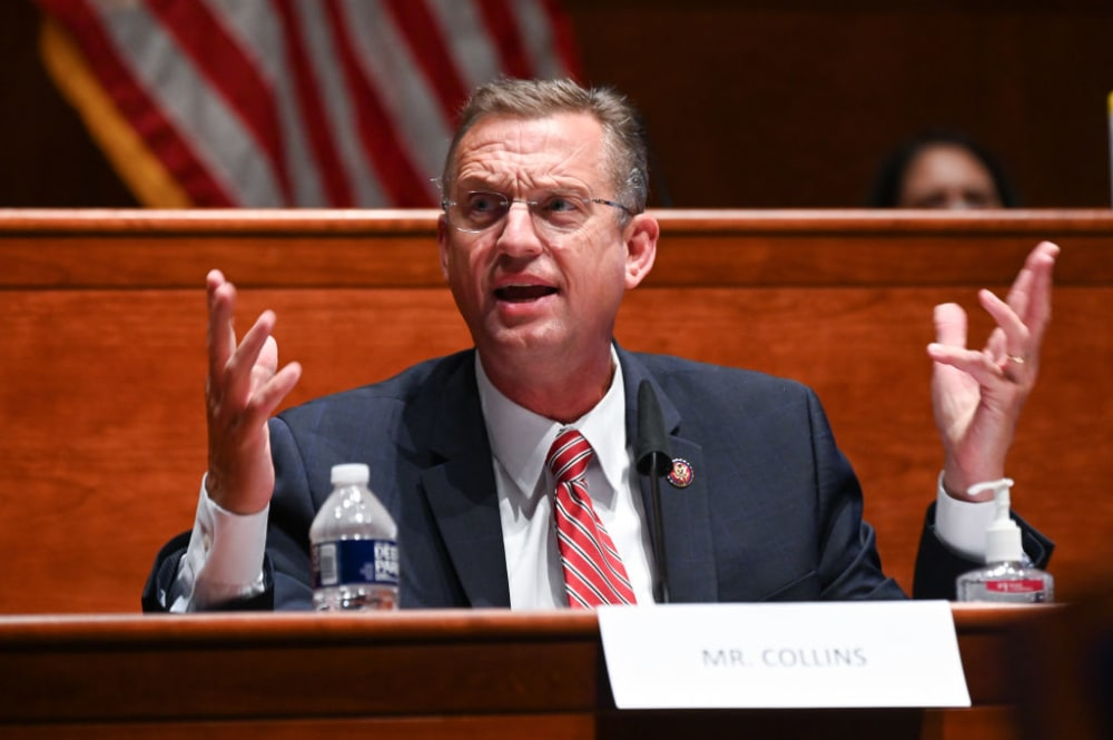 """WASHINGTON, DC - JUNE 17:  Representative Doug Collins, a Republican from Georgia, speaks during a House Judiciary Committee markup on H.R. 7120, the """"Justice in Policing Act of 2020,""""  on June 17, 2020, in Washington, D.C. The House bill would make it easier to prosecute and sue officers and would ban federal officers from using choke holds, bar racial profiling, end """"no-knock"""" search warrants in drug cases, create a national registry for police violations, and require local police departments that get federal funds to conduct bias training.  (Photo by Erin Scott-Pool via Getty Images)"""