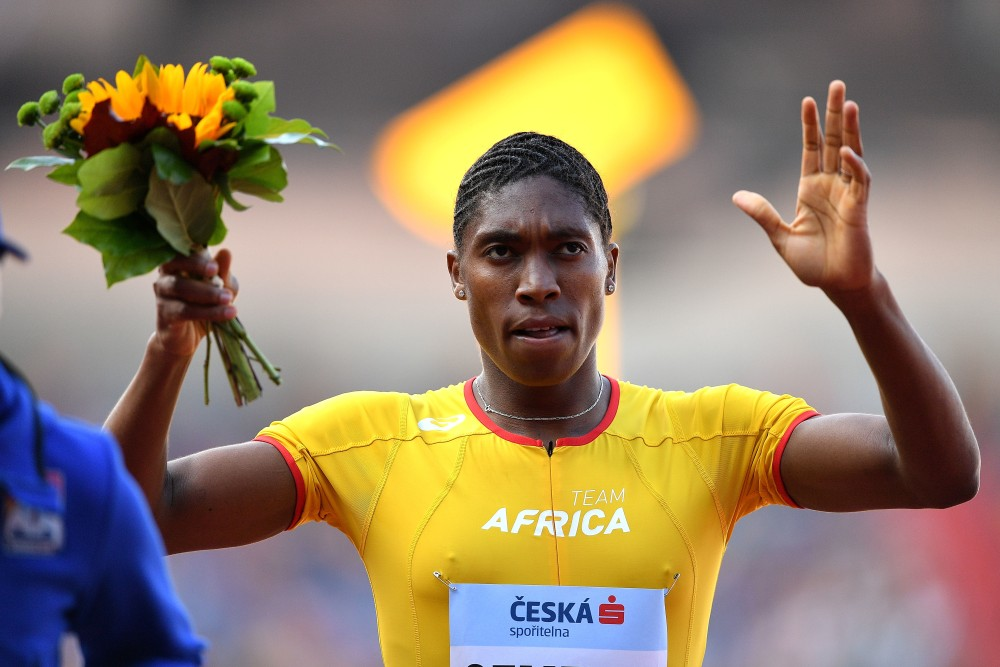 OSTRAVA, CZECH REPUBLIC - SEPTEMBER 09:  Caster Semenya of Team Africa celebrates victory following the Womens 800 Metres during day two of the IAAF Continental Cup at Mestsky Stadium on September 9, 2018 in Ostrava, Czech Republic.  (Photo by Lukas Schulze/Getty Images for IAAF)