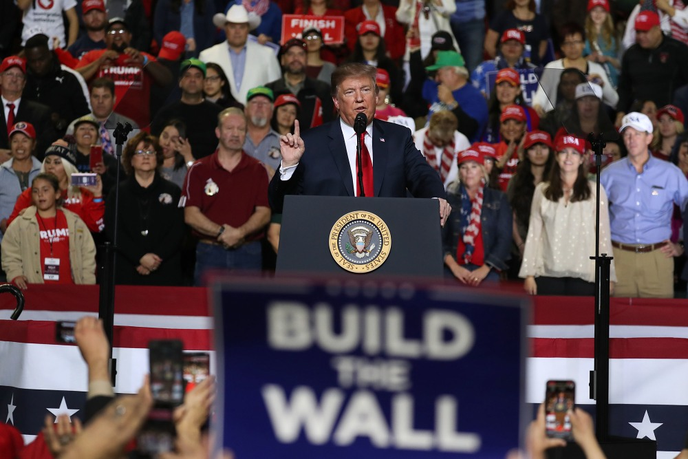 EL PASO, TEXAS - FEBRUARY 11:  U.S. President Donald Trump speaks during a rally at the  El Paso County Coliseum on February 11, 2019 in El Paso, Texas. U.S. Trump continues his campaign for a wall to be built along the border as the Democrats in Congress are asking for other border security measures. (Photo by Joe Raedle/Getty Images)