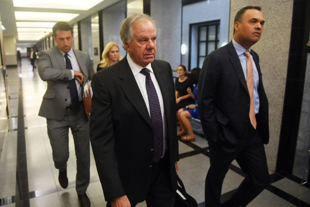 WEST PALM BEACH, FLORIDA - APRIL 12: Attorneys Jack Goldberger (center), Alex Spiro (left) and William Burck, the defense team for New England Patriots owner Robert Kraft, make their way to Courtroom 2E at the Palm Beach County Courthouse on April 12, 2019 in West Palm Beach, Florida. Up for discussion are expected to be motions to suppress the public release of Kraft videos in the case. Kraft, 77, was accused twice in January of visiting a spa in Jupiter and receiving sex acts, records show. He faces two misdemeanor prostitution-related charges. (Photo by Patrick Dove - Pool/Getty Images)