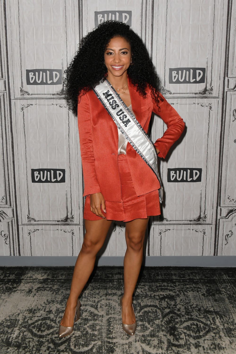 """NEW YORK, NEW YORK - MAY 07: Cheslie Kryst visits the BUILD Series to discuss Winning """"Miss USA"""" at Build Studio on May 07, 2019 in New York City. (Photo by Nicholas Hunt/Getty Images)"""