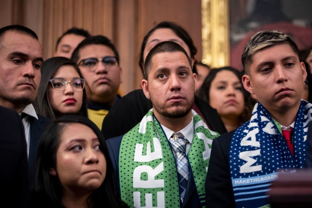 WASHINGTON, DC - NOVEMBER 12: Mart�n Batalla Vidal (C) stands with fellow DACA recipients during a press conference to discuss the Supreme Court case involving Deferred Action for Childhood Arrivals (DACA) at the U.S. Capitol on November 12, 2019 in Washington, D.C. On Tuesday morning, the Supreme Court heard oral arguments in a case related to President Donald Trumps decision of ending the DACA program. The justices are considering whether the Trump administration can end a program that shields around 700,000 young immigrants from deportation from the United States. (Photo by Drew Angerer/Getty Images)