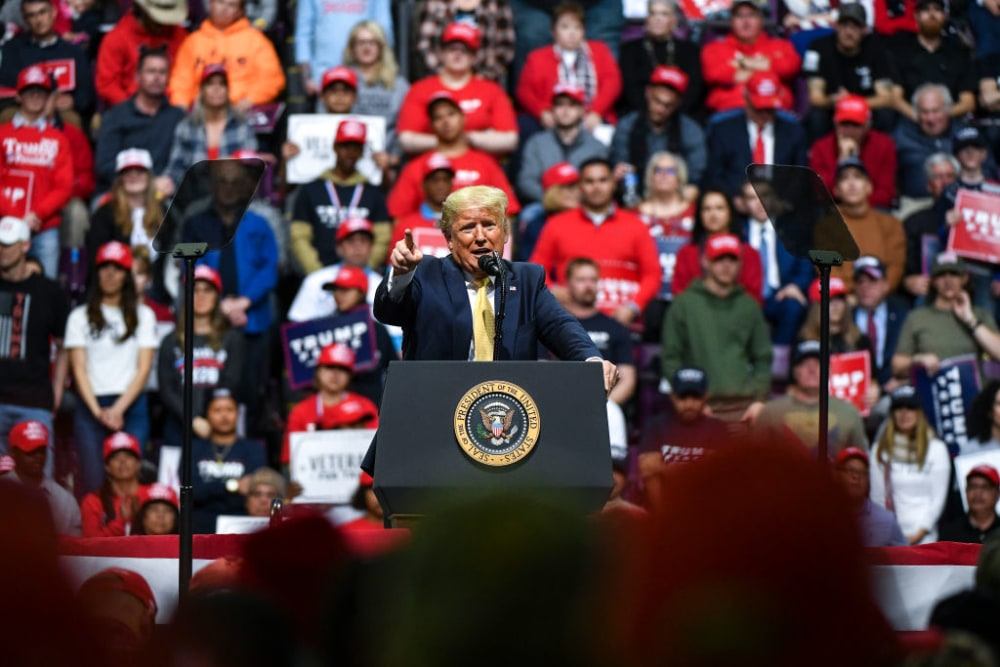 COLORADO SPRINGS, CO - FEBRUARY 20: President Donald Trump speaks to supporters during a Keep America Great rally on February 20, 2020 in Colorado Springs, Colorado. Vice President Mike Pence and Sen. Cory Gardner, a first-term Republican up for reelection this year, joined Trump at the rally. (Photo by Michael Ciaglo/Getty Images)