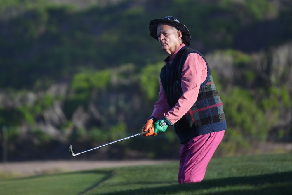 PEBBLE BEACH, CALIFORNIA - FEBRUARY 07:  Actor Bill Murray plays a shot on the tenth hole during the second round of the AT&T Pebble Beach Pro-Am at Monterey Peninsula Country Club on February 07, 2020 in Pebble Beach, California. (Photo by Harry How/Getty Images)
