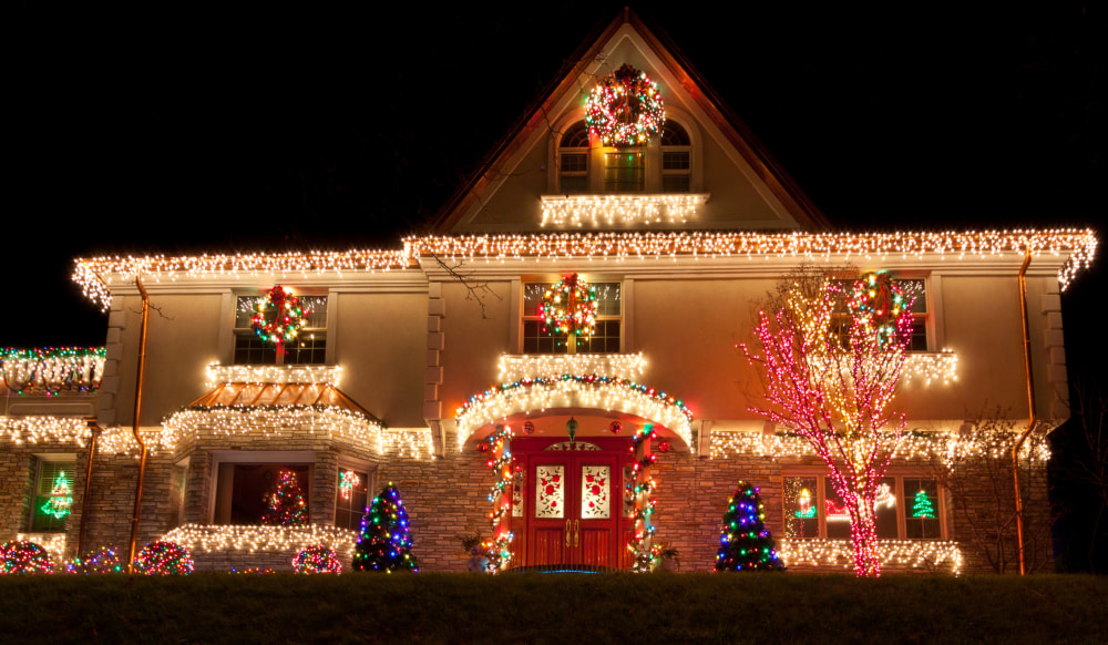 Night view of a Luxury Home with Christmas Lights in Brooklyn, New York, USA.