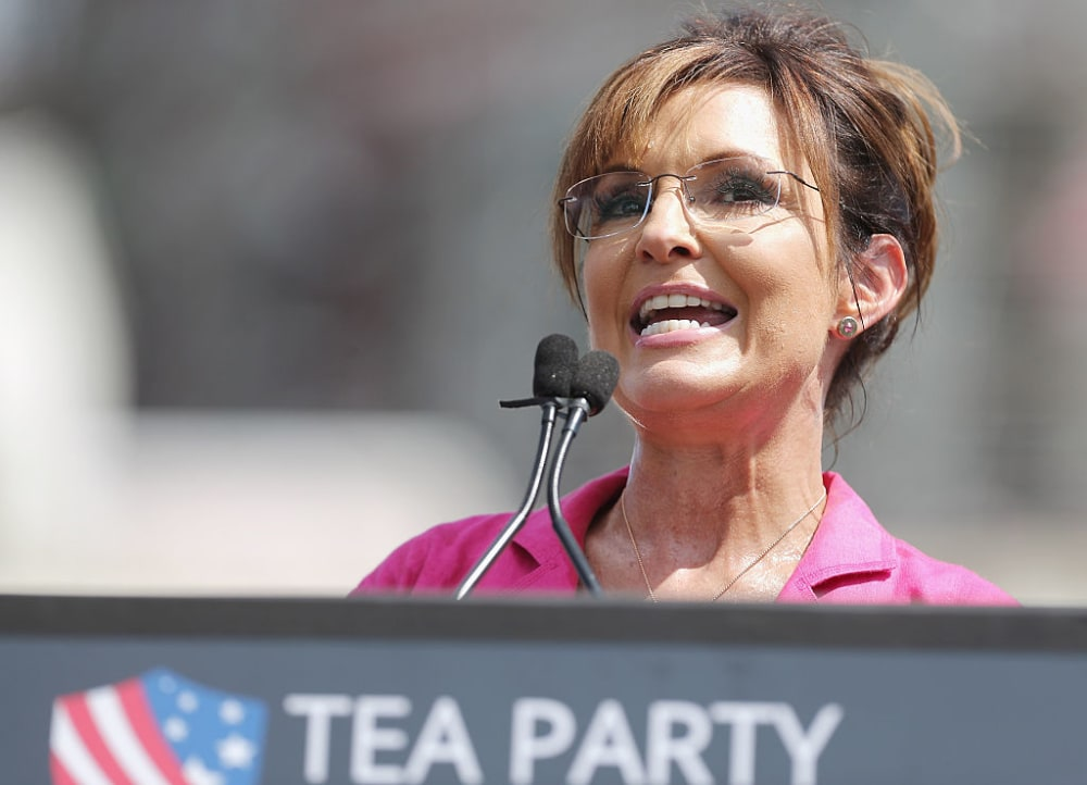 WASHINGTON, DC - SEPTEMBER 09:  Former vice presidential candidate Sarah Palin addresses a rally against the Iran nuclear deal on the West Lawn of the U.S. Capitol September 9, 2015 in Washington, DC. (Photo by Chip Somodevilla/Getty Images)