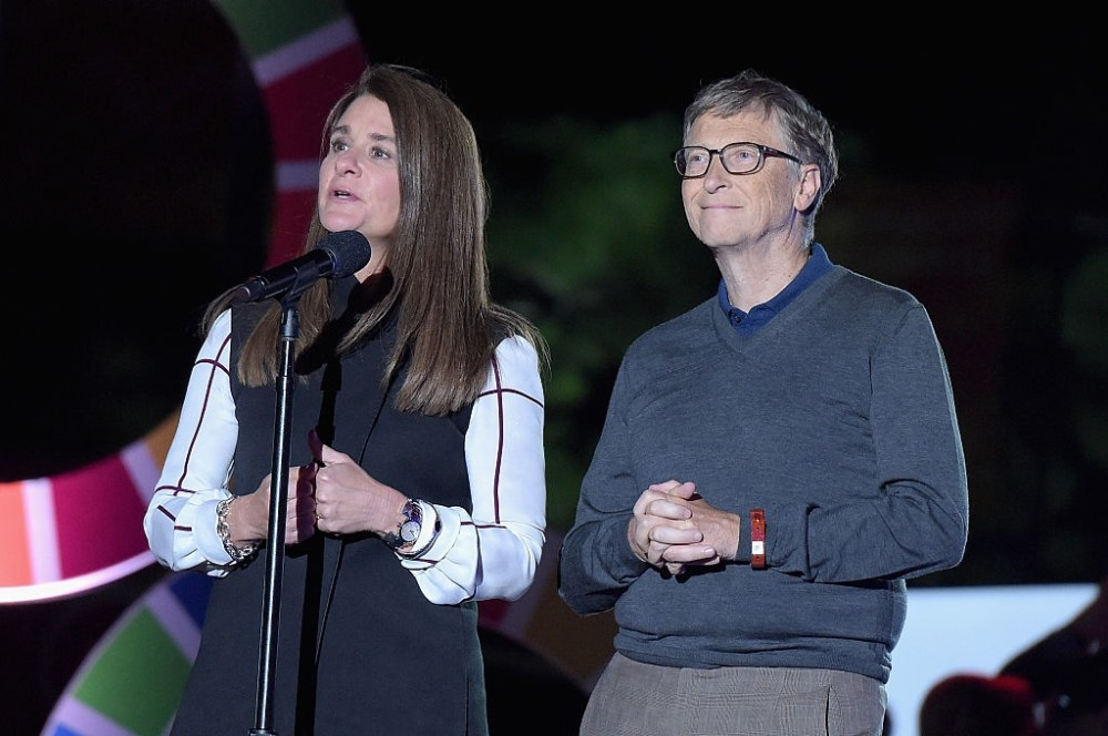 NEW YORK, NY - SEPTEMBER 26:  Business people Melinda Gates (L) and Bill Gates speak on stage at the 2015 Global Citizen Festival to end extreme poverty by 2030 in Central Park on September 26, 2015 in New York City.  (Photo by Theo Wargo/Getty Images for Global Citizen)