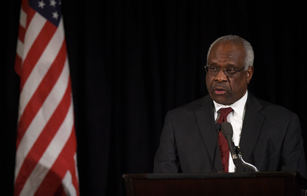 WASHINGTON, DC - MARCH 1: Supreme Court Justice Clarence Thomas speaks at the memorial service for former Supreme Court Justice Antonin Scalia at the Mayflower Hotel March 1, 2016 in Washington, DC.Justice Scalia died February 13 while on a hunting trip in Texas. (Photo by Susan Walsh-Pool/Getty Images)
