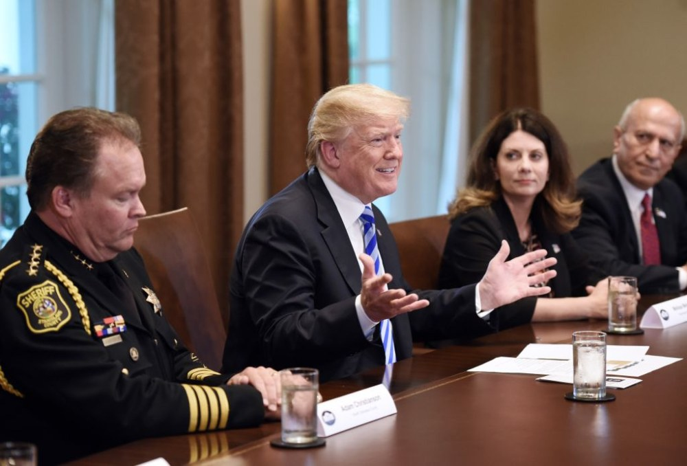 WASHINGTON, DC - MAY 16: (AFP-OUT) U.S. President Donald Trump speaks during a meeting with California leaders and public officials who oppose California's sanctuary policies in the Cabinet Room of the White House May 16, 2018 in Washington, DC. (Photo by Olivier Douliery-Pool/Getty Images)