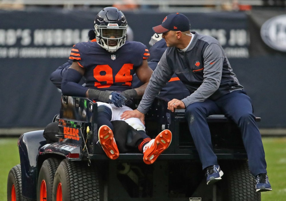 CHICAGO, IL - NOVEMBER 19:  Leonard Floyd #94 of the Chicago Bears is carted off of the field after suffering an apparent knee injury against the Detroit Lions at Soldier Field on November 19, 2017 in Chicago, Illinois. The Lions defeated the Bears 27-24.  (Photo by Jonathan Daniel/Getty Images)