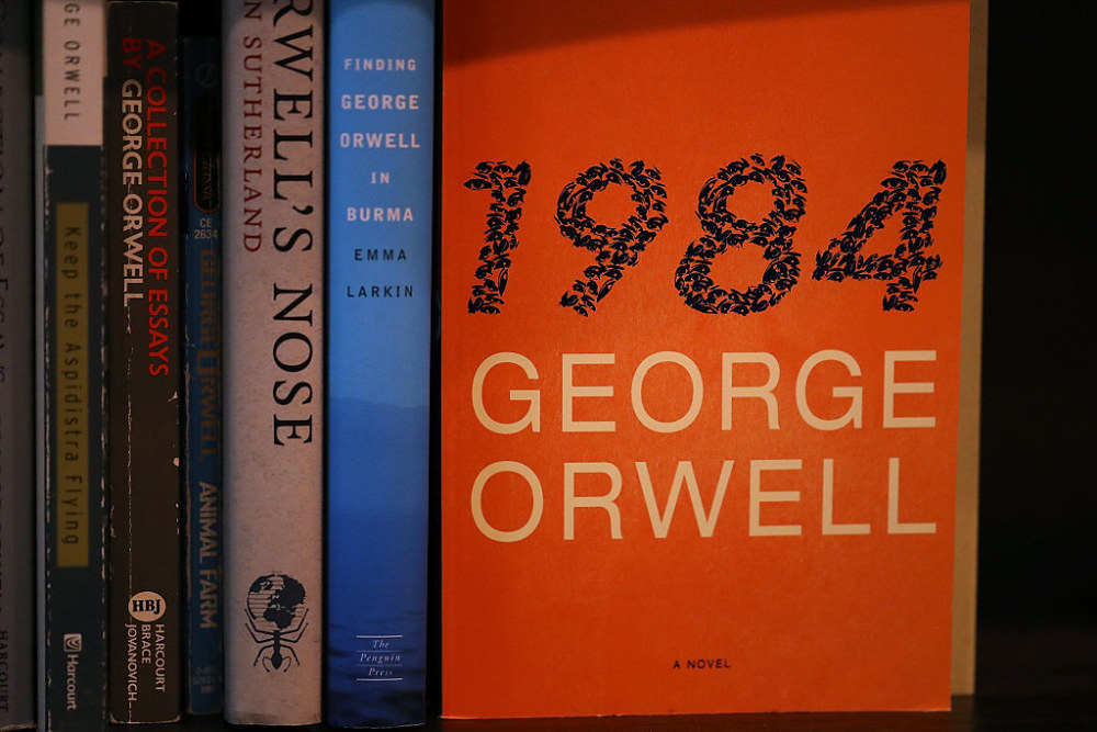 Picture of George Orwell's 1984 on a bookshelf