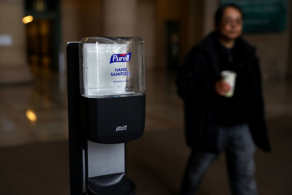 Purell hand sanitizer inside the Information Center on the campus of Massachusetts Institute of Technology on March 12, 2020 in Cambridge, Massachusetts. Students have been asked to move out of their dorms by March 17 due to the Coronavirus (COVID-19). risk. All classes will be moved online for the rest of the spring semester.  (Photo by Maddie Meyer/Getty Images)