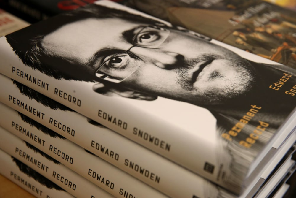 """SAN FRANCISCO, CALIFORNIA - SEPTEMBER 17: Newly released """"Permanent Record"""" by Edward Snowden is displayed on a shelf at Books Inc. on September 17, 2019 in San Francisco, California. The U.S. Justice Department has filed suit against Snowden, a former Central Intelligence Agency employee and contractor for the National Security Agency, alleging the book violates non-disclosure agreements.  (Photo by Justin Sullivan/Getty Images)"""