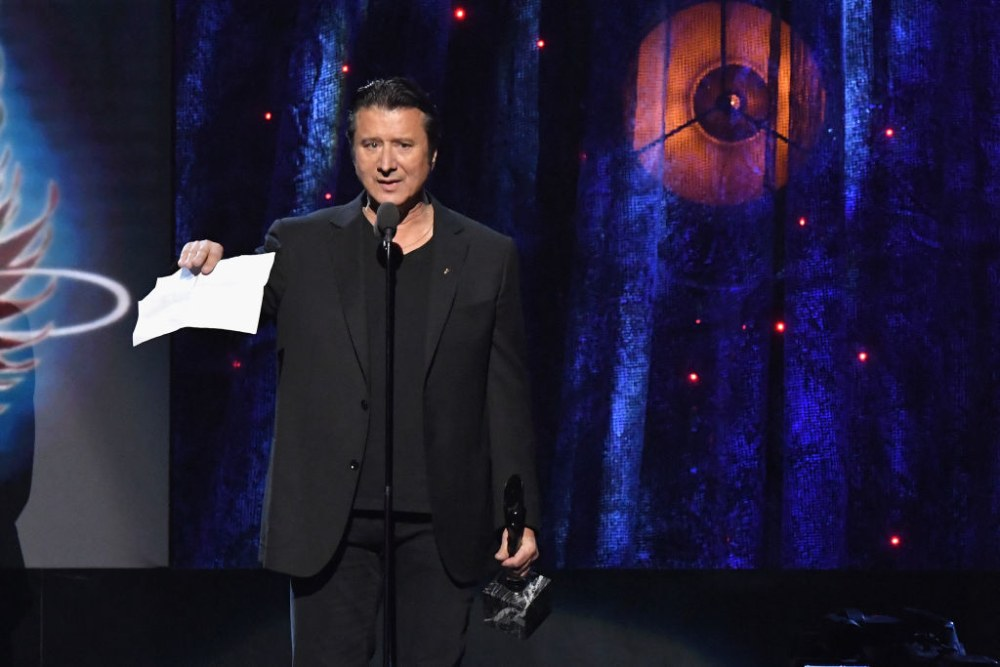 Steve Perry of Journey at the Rock and Roll Hall of Fame Induction Ceremony in 2017