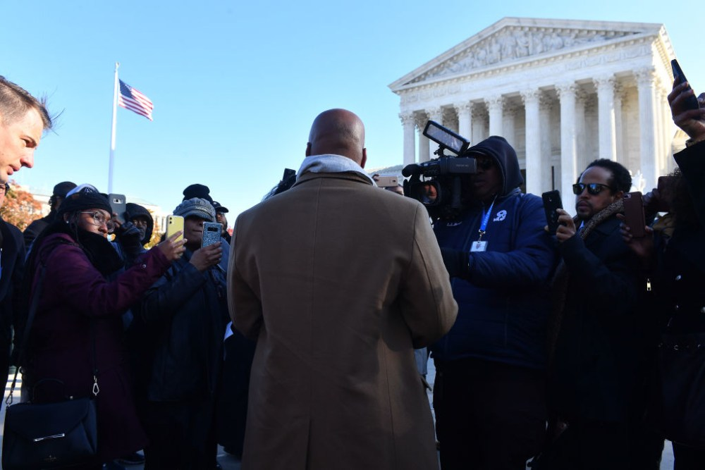 Byron Allen, Founder/Chairman/CEO, Entertainment Studios, appears at the Supreme Court of the United States for racial discrimination suit against Comcast on November 13, 2019 in Washington, DC. (Photo by Larry French/Getty Images for Entertainment Studios)