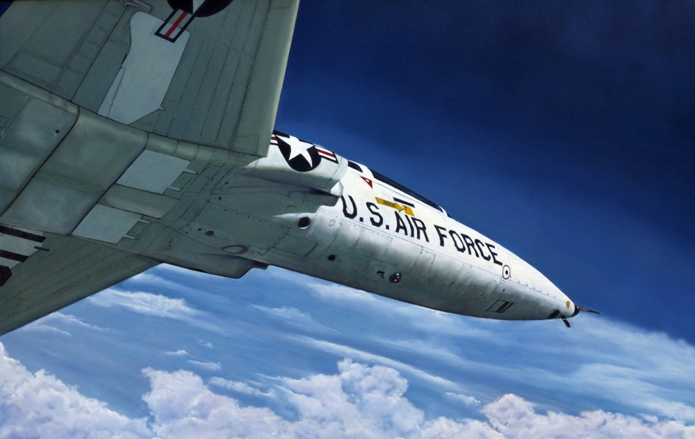 """Oil painting of Air Force """"Talon"""" jet in flight"""