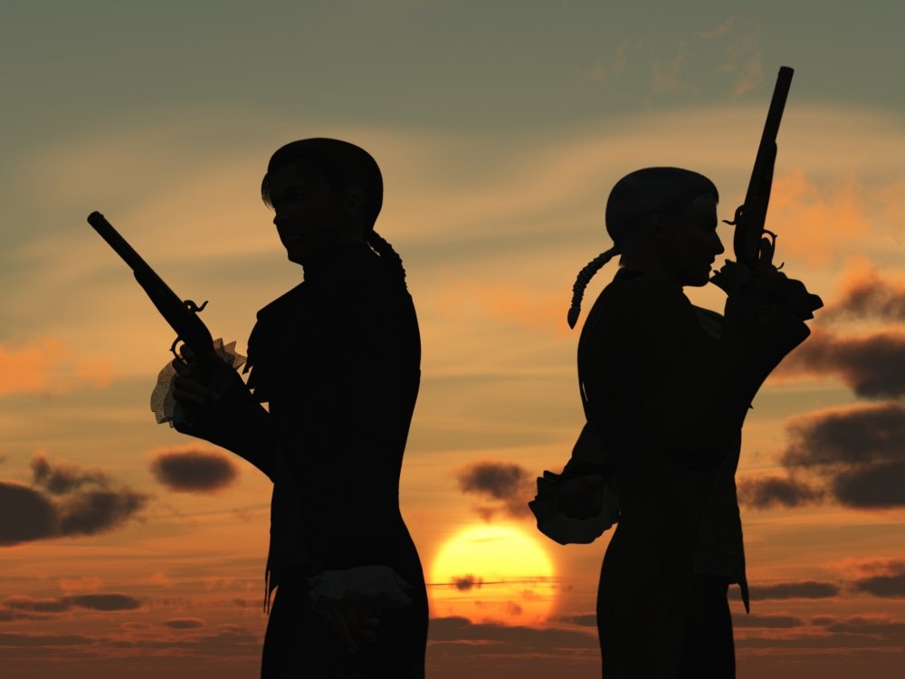 Duelers with pistols at sunset