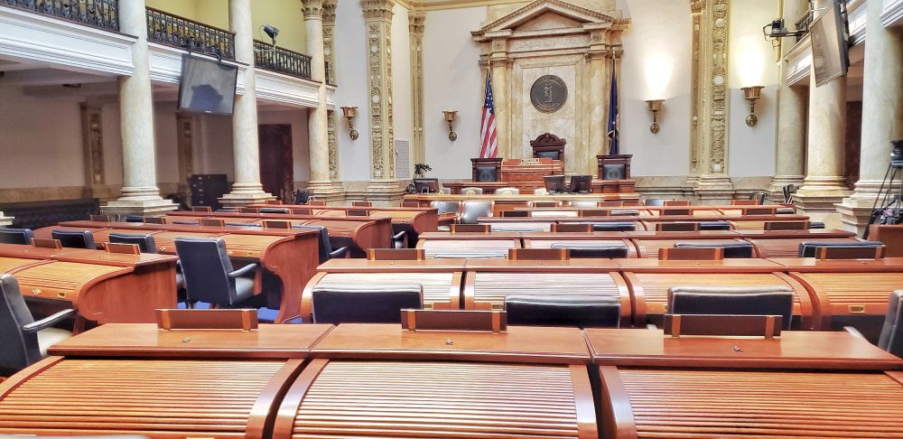 Inside the Senate room within the Kentucky State Capitol building.  The view is from the perspective of where one of the Senate representatives would be seated.