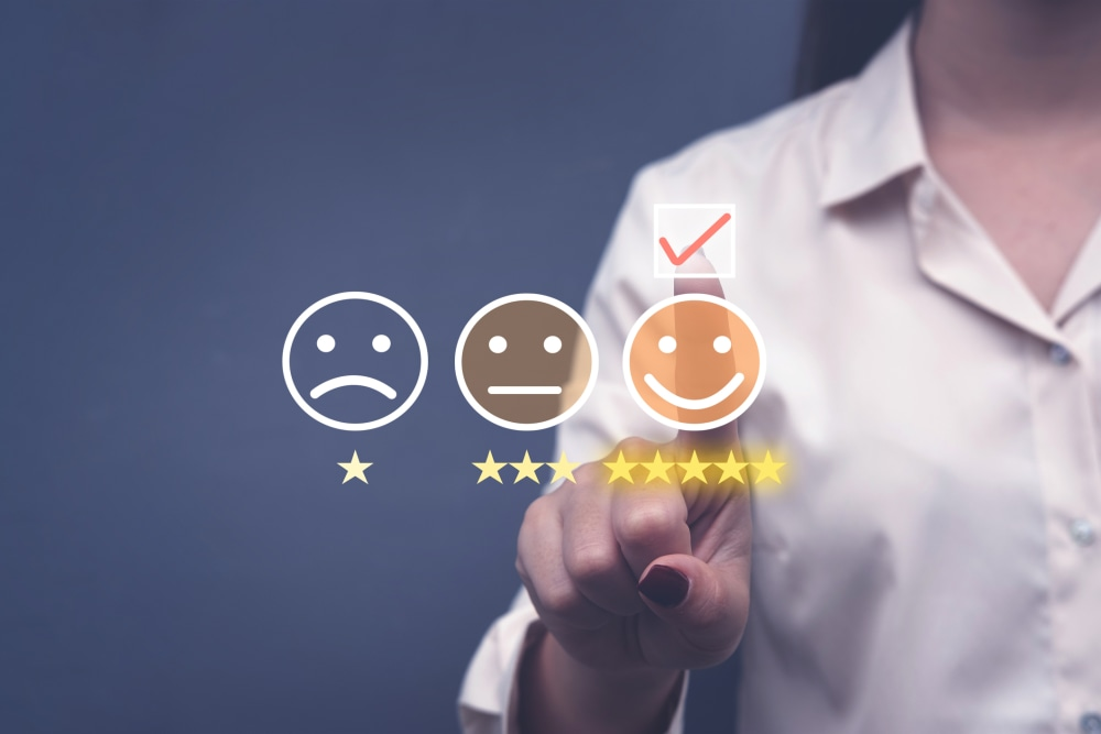 Customer Experience Concept, Best rating for Satisfaction present by Hand of Client giving a Five Star Rating