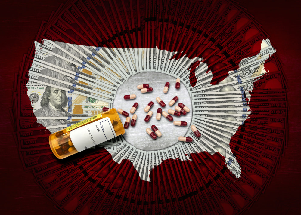 RX pharmacy prescription bottle of pills on a pile of $100 dollar bills and a USA outline