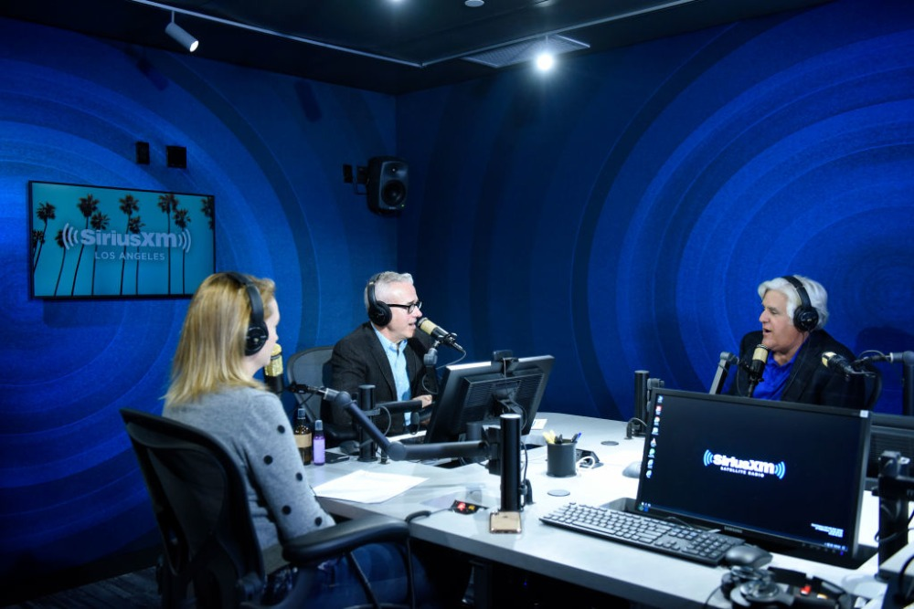 LOS ANGELES, CA - OCTOBER 09:  SiriusXM hosts Julia Cunningham and Jess Cagle interview Jay Leno at The SiriusXM Hollywood Studios on October 9, 2019 in Los Angeles, California.  (Photo by Vivien Killilea/Getty Images for SiriusXM)