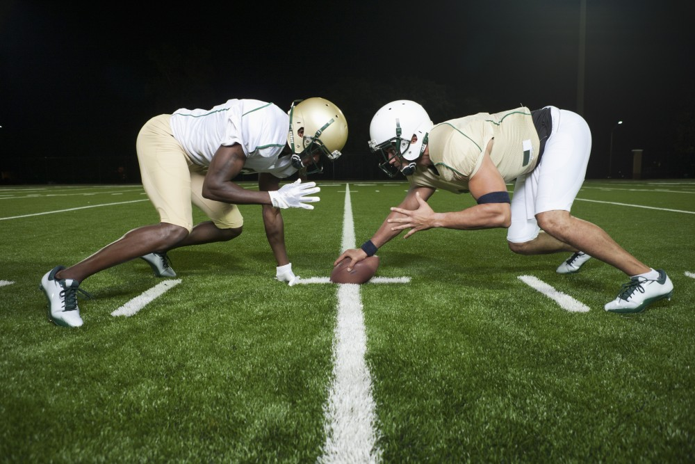 Two football players facing off.