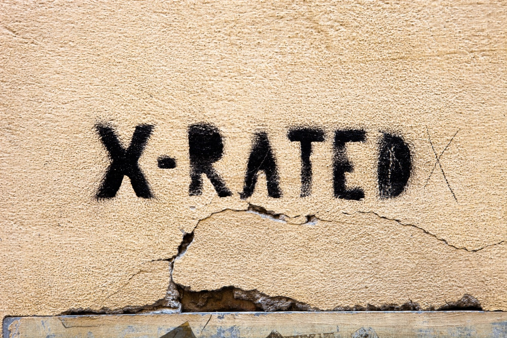 """""""x-rated graffiti on a grungy wall( no filters used,texture overlayed for grungy looking)"""""""