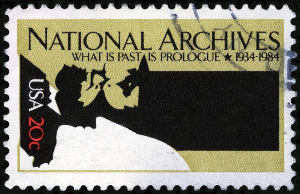 Cancelled Stamp From The United States: National Archives - What is Past is Prologue.