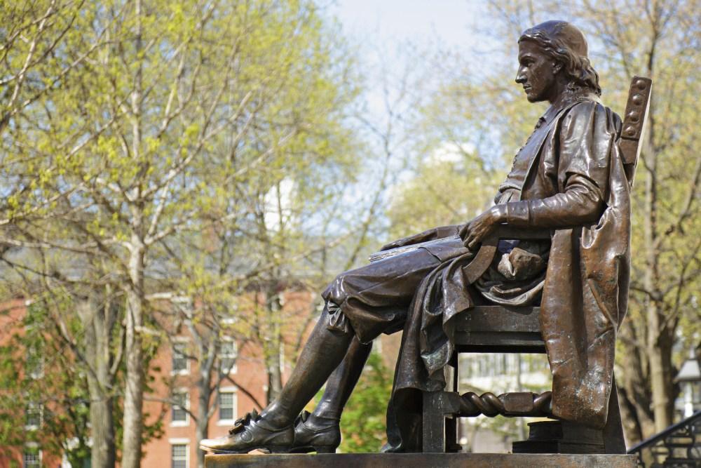 """""""John Harvard monument (c. 1884) by Daniel Chester French (Cambridge, Massachusetts)."""""""