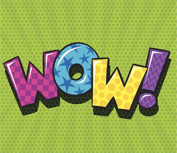 Wow word in pop art retro style