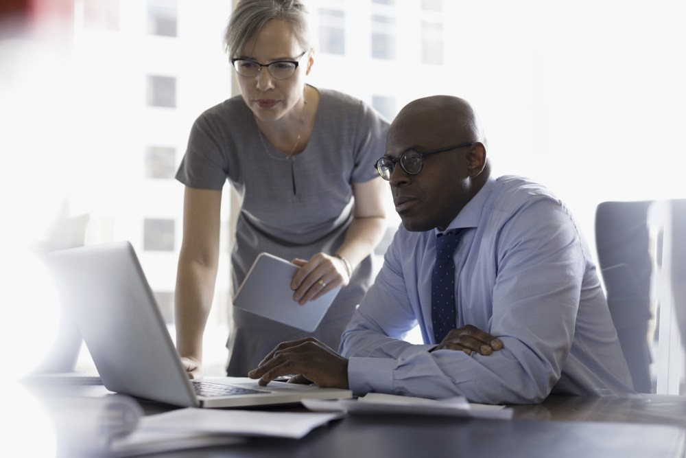 Diverse lawyers working together in an office