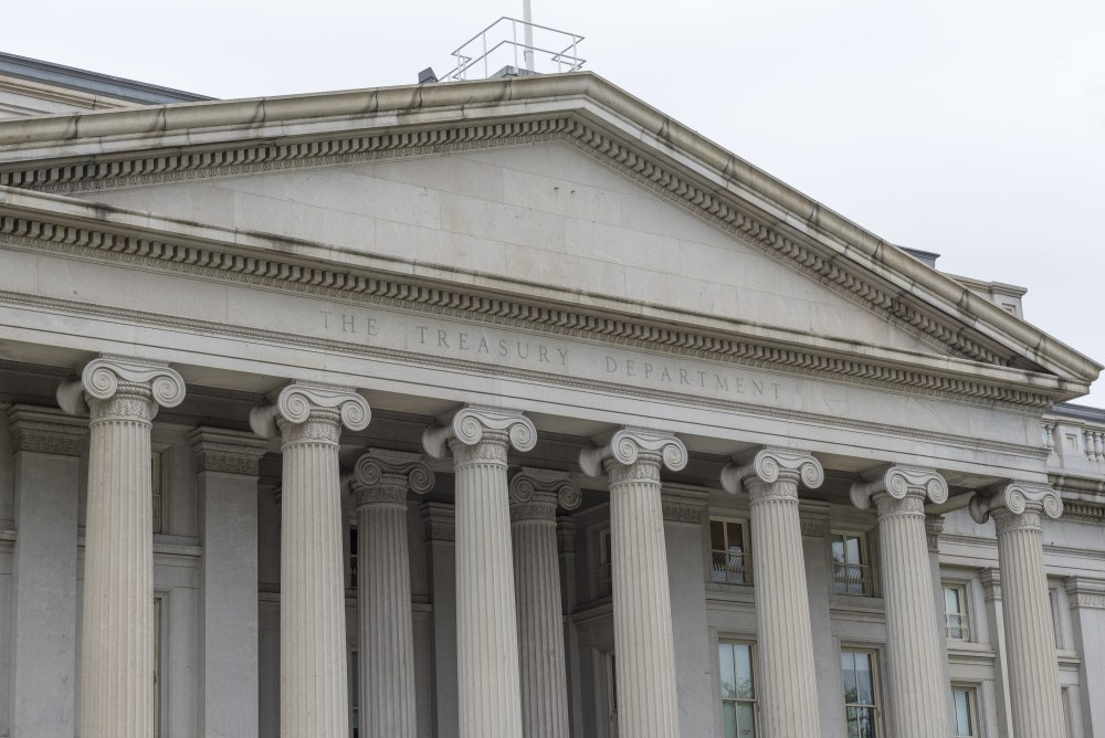 Building of the US Treasury Department in Washington DC, USA