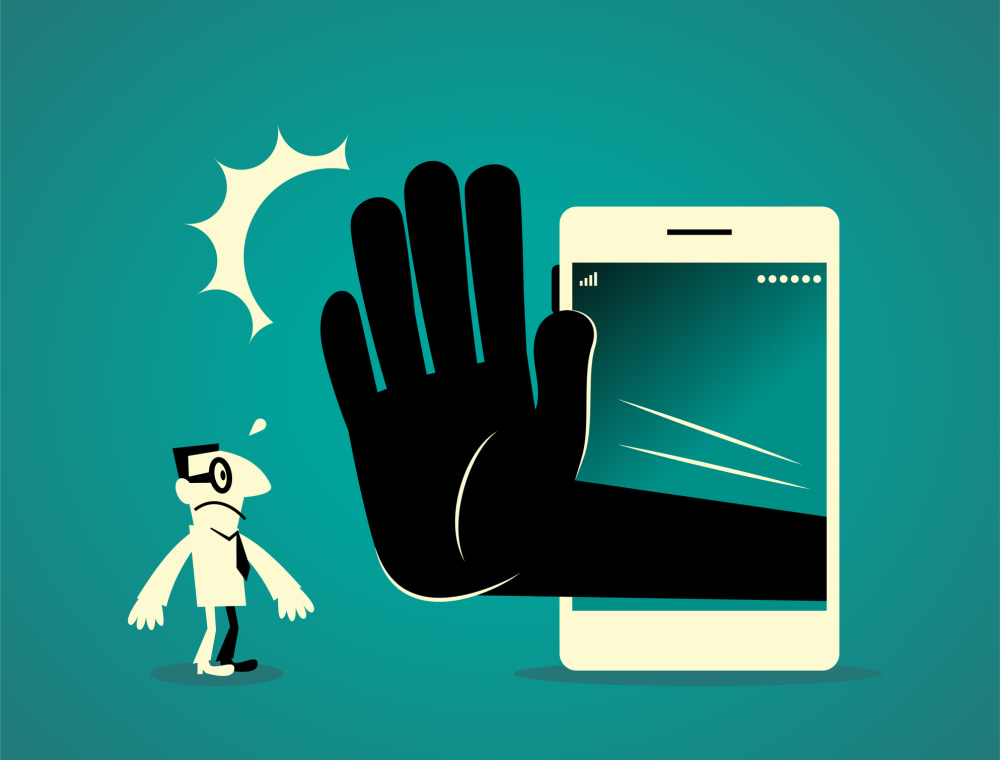 Businessman animated character stopped by large hand coming out of smartphone
