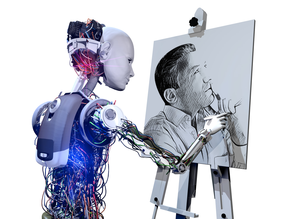Artificial intelligence systems and fine arts in the future. Robot drawing a men portrait on whiteboard.  Men portrait from my portfolio. Istock image number: 113977453