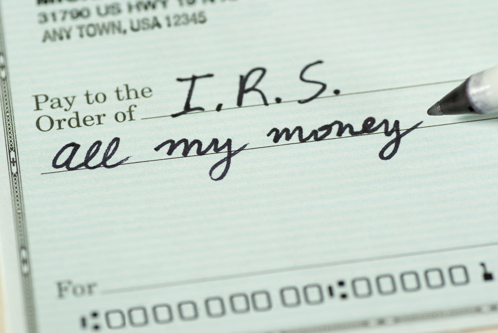 Closeup of a check to IRS for All My Money.
