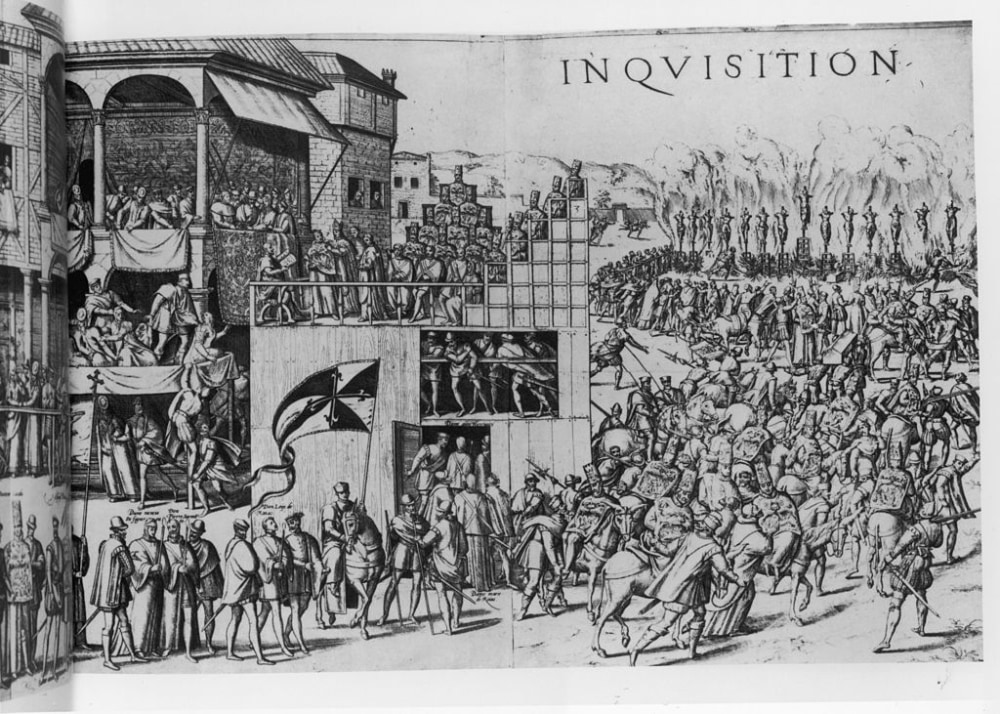 Engraving depicting the Spanish Inquisition. The Spanish Inquisition, formally, the Tribunal of the Holy Office of the Inquisition, was a tribunal established in 1478 by Catholic Monarchs Ferdinand II of Aragon and Isabella I of Castile. It was intended to maintain Catholic orthodoxy in their kingdoms, and to replace the medieval inquisition which was under papal control. The Inquisition worked in large part to ensure the orthodoxy of recent converts, especially Jews, Muslims and others. Spain, circa 1560. (Photo by Fotosearch/Getty Images).