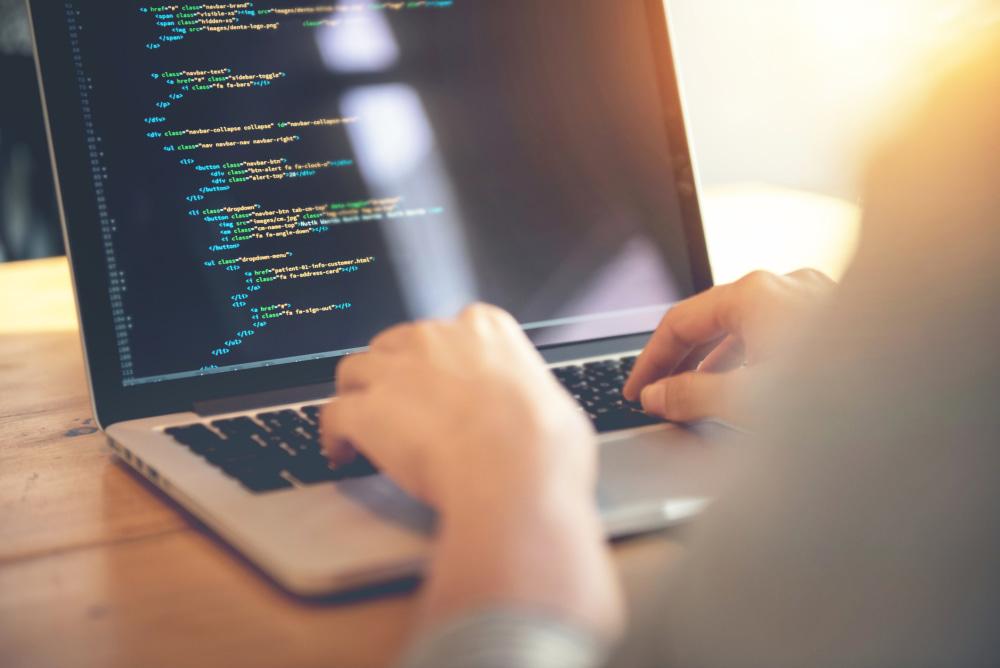 Woman hands coding html and programming on screen laptop, development web, developer.