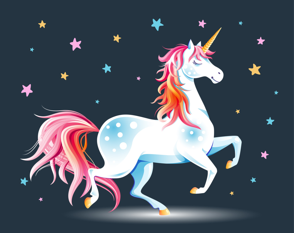 Cute poster with Unicorn and stars.