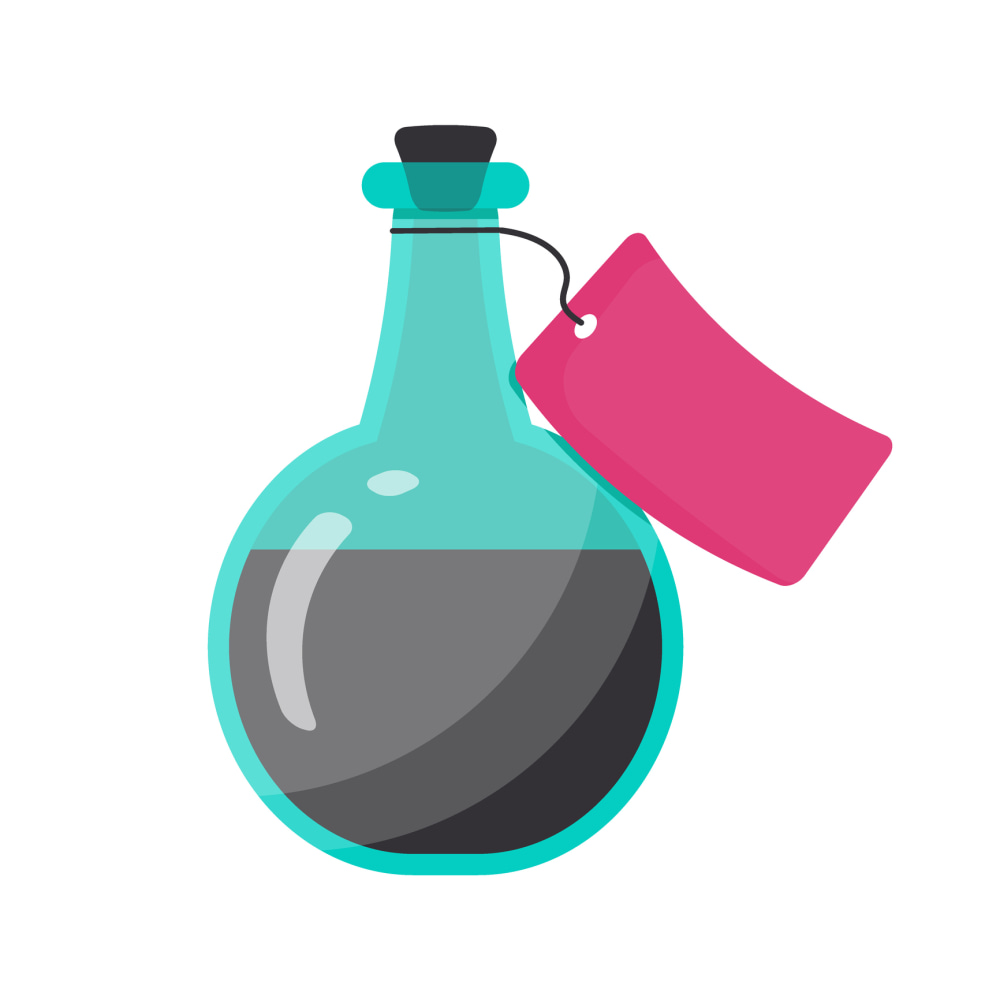 Bottle of poison vector flat icon, Flat design of toxic, dangerous or magic symbol isolated on the white background, cute vector illustration with reflections