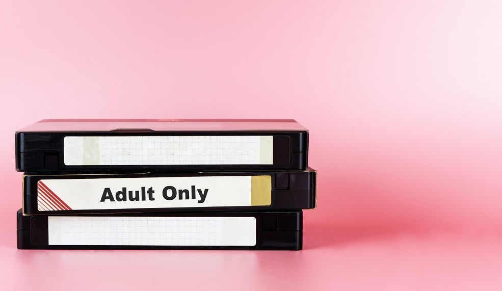 Adult movie only labeled on Video Tape for Pornography movie concept
