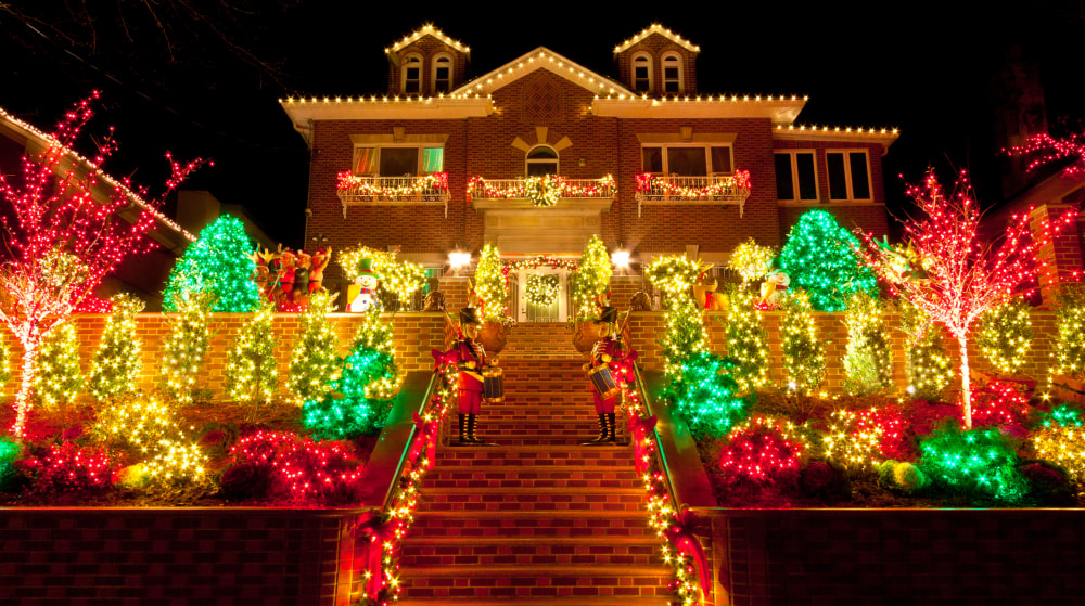 """""""Night view of a Luxury Home with Christmas Lights in Brooklyn, New York, USA."""""""