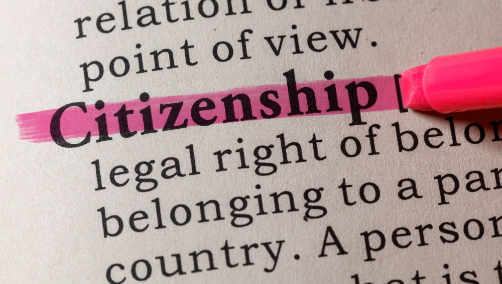 Fake Dictionary, Dictionary definition of the word citizenship. including key descriptive words.