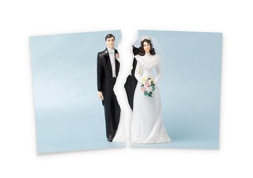 Wedding photo torn in half